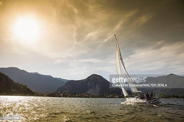 Sailboat on Lake Maggiore, Baveno, Stresa, Piedmont, Italy