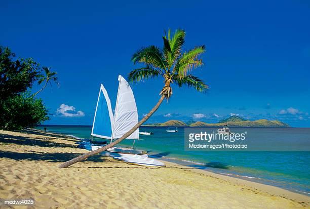 Sailboat on Mamanuca Group Resort beach, Tokoriki Island, Fiji