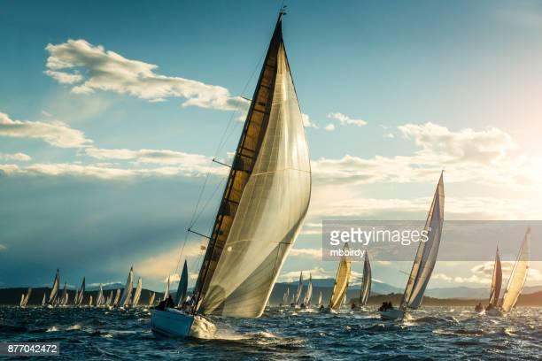 Sailboat on regatta on sunny autumn morning