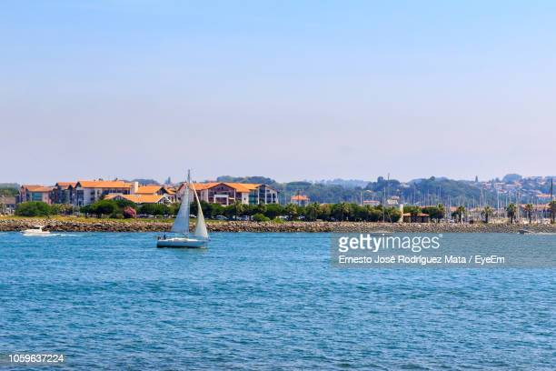 sailboat on sea against clear sky during sunny day - オンダリビア ストックフォトと画像