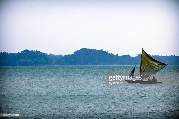 sailboat on sea - ken ilio stock pictures, royalty-free photos & images