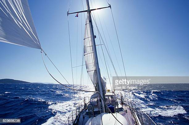 sailboat on the adriatic sea - joel rogers stock pictures, royalty-free photos & images