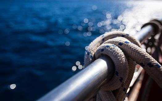 Sailboat rope, yacht detail. Yachting 857496582
