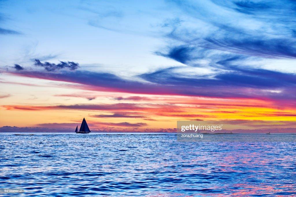 Sailboat Sailing During at Sunset, Hawaii : Stock Photo
