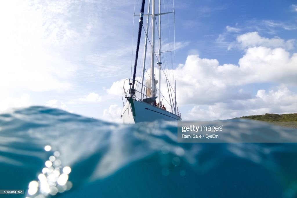 Sailboat Sailing In Sea Against Sky : Stock Photo