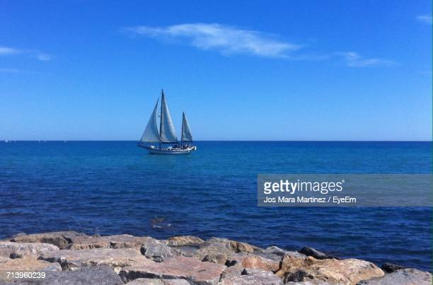 sailboat sailing in sea - mara martinez stock-fotos und bilder