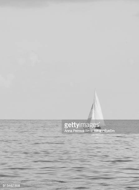 sailboat sailing on sea against clear sky - voilier noir et blanc photos et images de collection