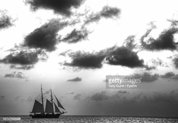 sailboat sailing on sea against sky - voilier noir et blanc photos et images de collection