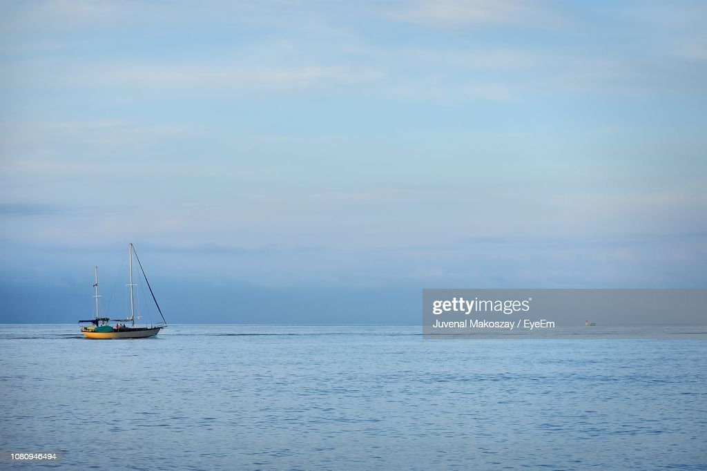 Sailboat Sailing On Sea Against Sky : Stock Photo