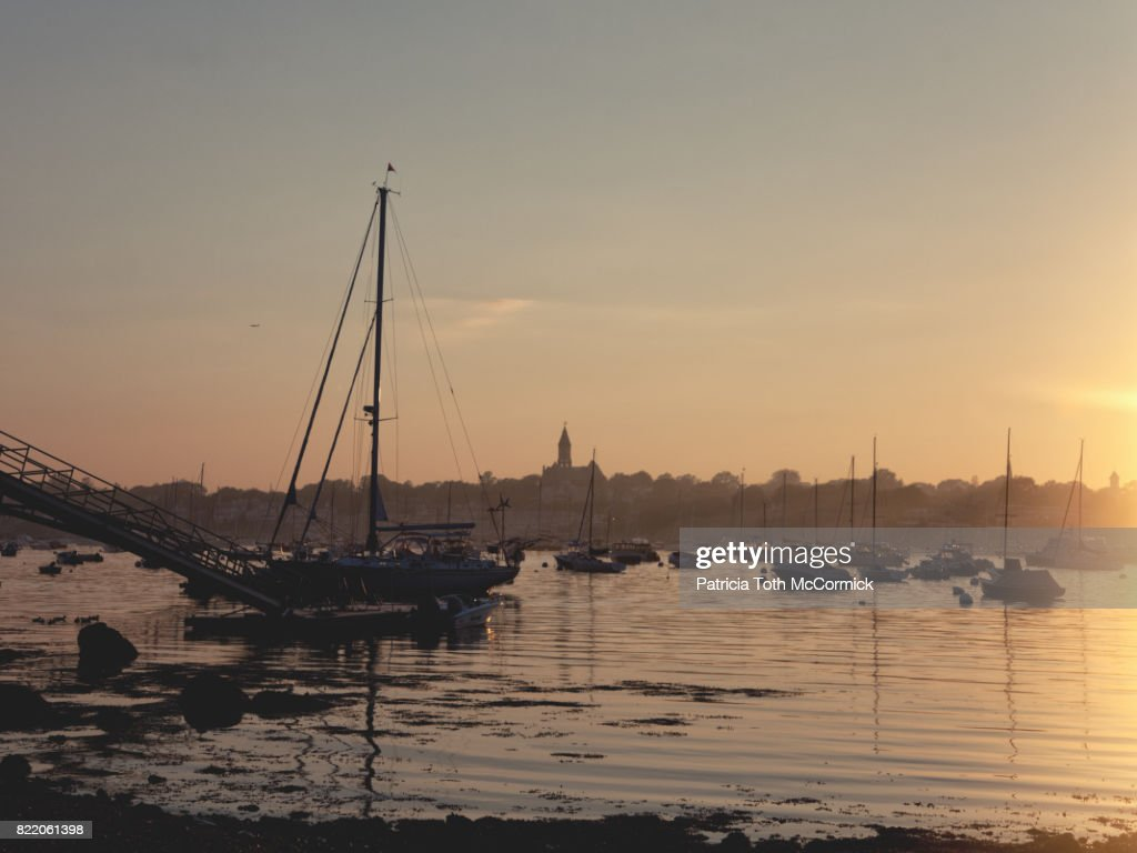 Sailboat Silhouetted at Sunset : Stock Photo