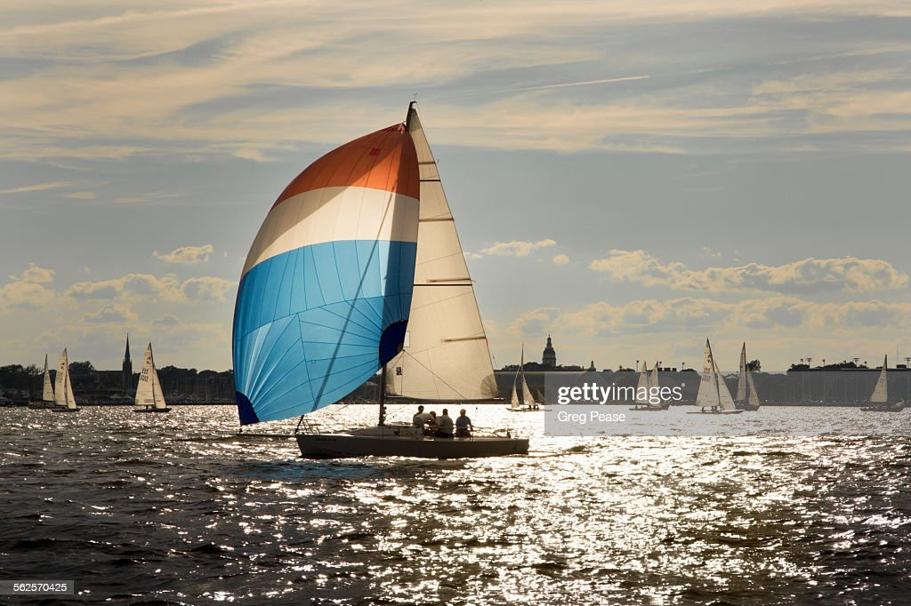 Sailboat with Spinnaker : Stock Photo