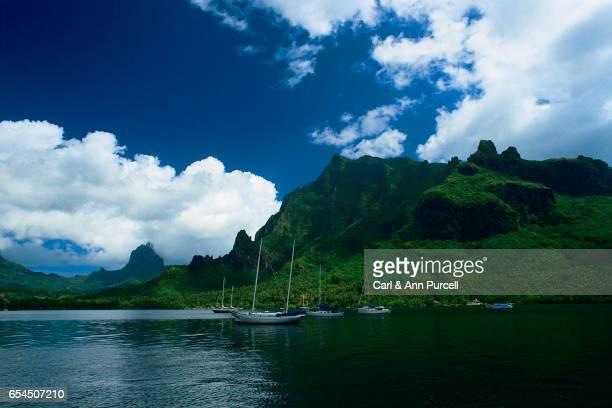 Sailboats Along Moorea Island