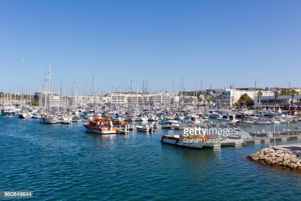 Sailboats and Yachts Moored at Lagos Marina, Algarve, Portugal.