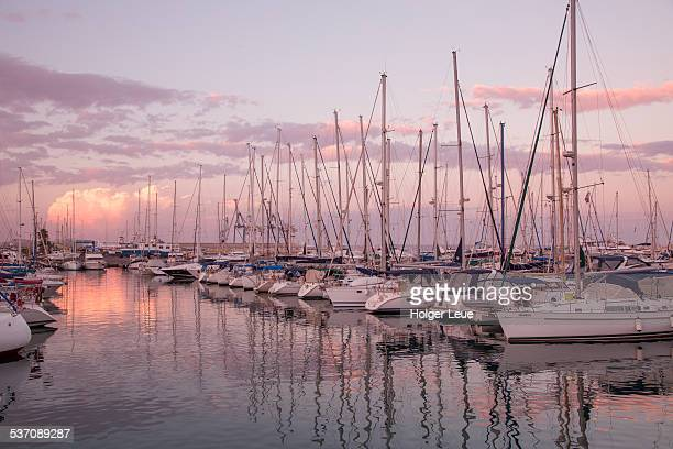 Sailboats at Larnaca marina at dusk