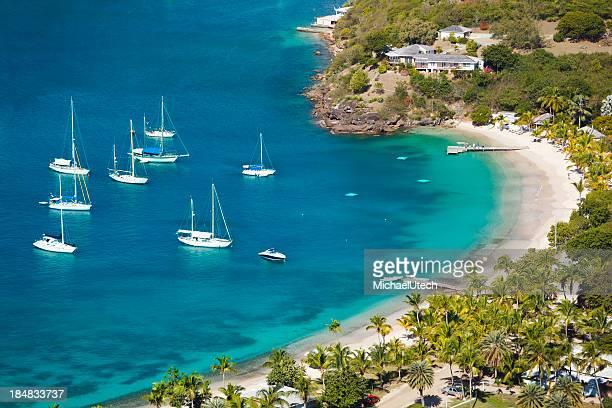 Sailboats At Little Beach In Antigua