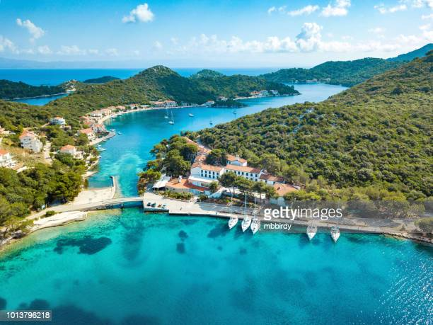 sailboats at pasadur, lastovo island, dalmatia, croatia from drone - croatia stock pictures, royalty-free photos & images