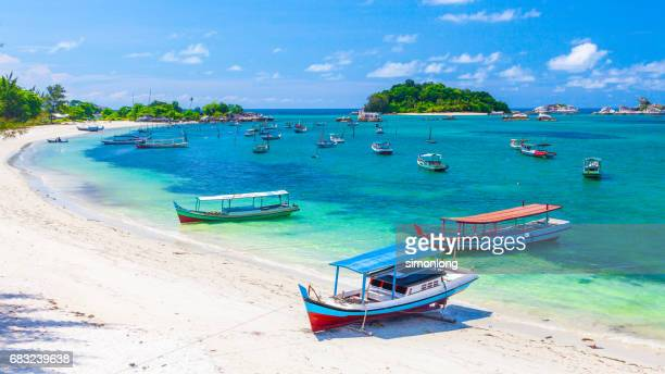 sailboats by the belitung beach, indonesia - bali stock pictures, royalty-free photos & images