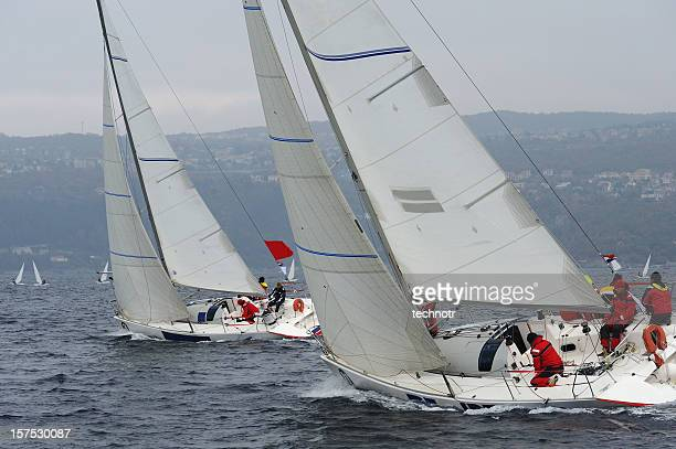 Sailboats compeeting during regatta