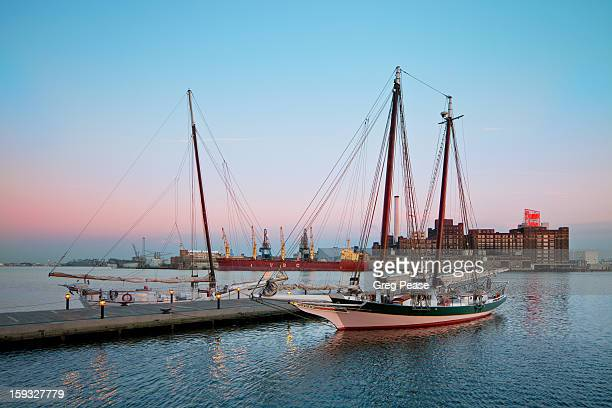 Sailboats docked at Baltimore Inner Harbor