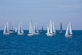 sailboats during regatta near trogir splitdalmatia