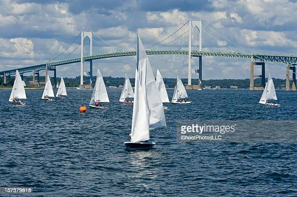 sailboats everywhere - newport rhode island stock pictures, royalty-free photos & images