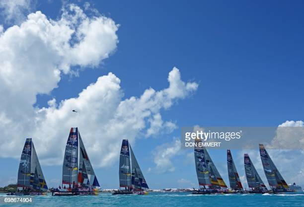 Sailboats from eight countries race during the Red Bull Youth Americas Cup June 20, 2017 in Hamilton, Bermuda. Teams from Sweden, France, Great...