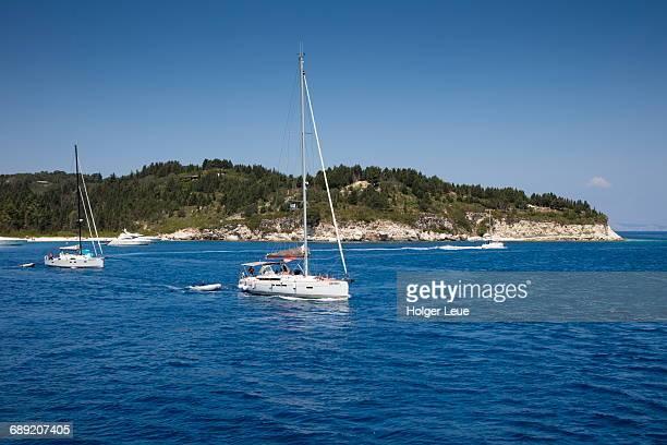 Sailboats in bay and coastline
