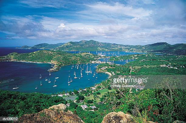 Sailboats in bay of tropical island
