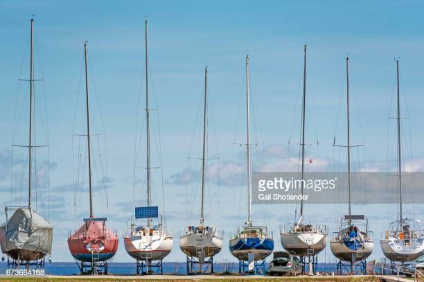 Sailboats in dry dock