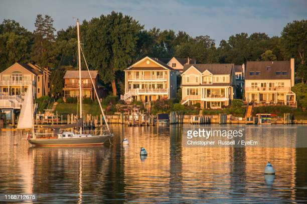 sailboats in lake against houses and trees in city - annapolis stock pictures, royalty-free photos & images