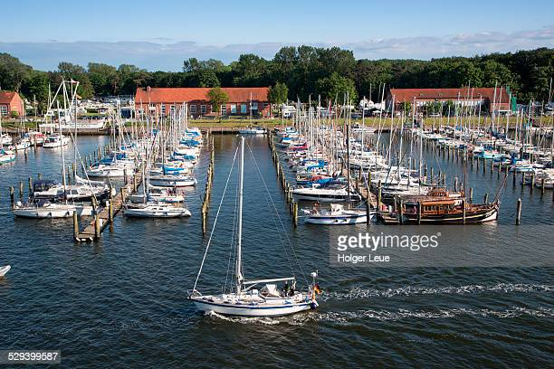 Sailboats in Priwallhafen marina