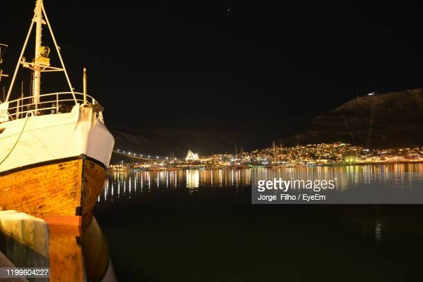 sailboats in sea against sky at night - filho stock pictures, royalty-free photos & images