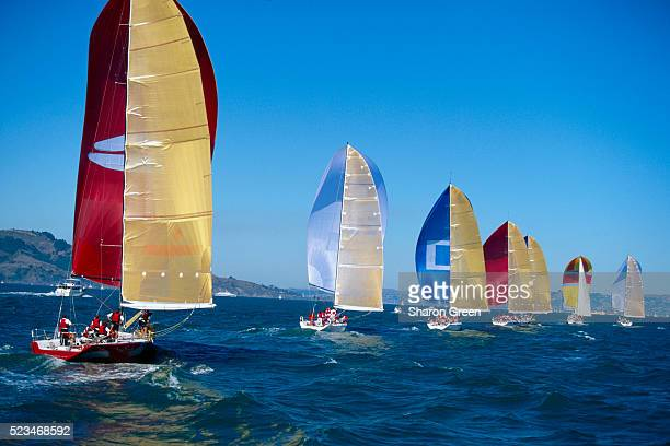 Sailboats in the 1998 Big Boat Series
