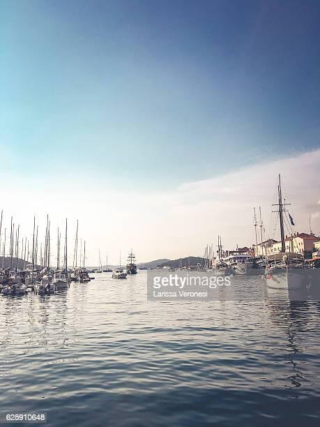 Sailboats in the harbor of Mali Lošinj, Croatia
