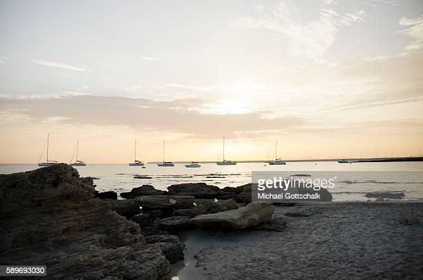 Sailboats in the sea at Es Trenc beach near Colonia Saint Jordi at Mallorca Island on June 30 2016 in Colonia Saint Jordi Spain