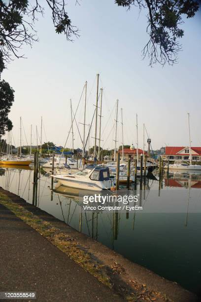 sailboats moored at harbor against clear sky - whangarei heads stock pictures, royalty-free photos & images