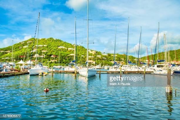 sailboats moored in a lagoon in saint martin - sint maarten stockfoto's en -beelden