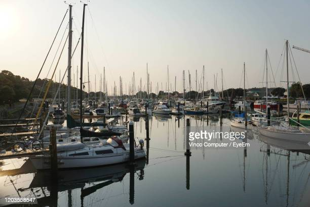 sailboats moored in harbor at sunset - whangarei heads stock pictures, royalty-free photos & images