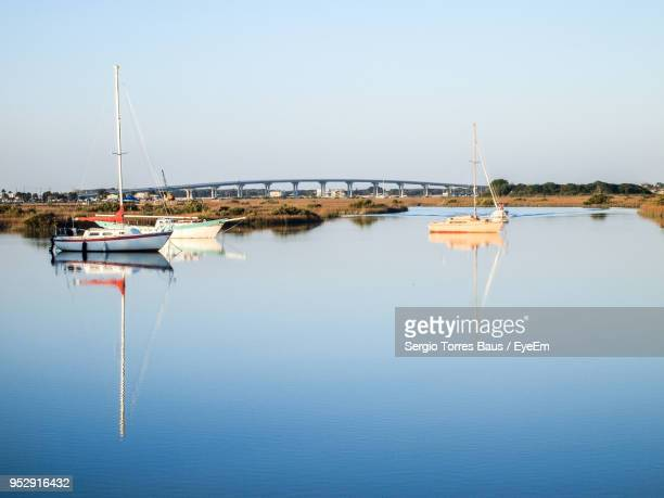 sailboats moored in sea against clear sky - st. augustine florida stock photos and pictures