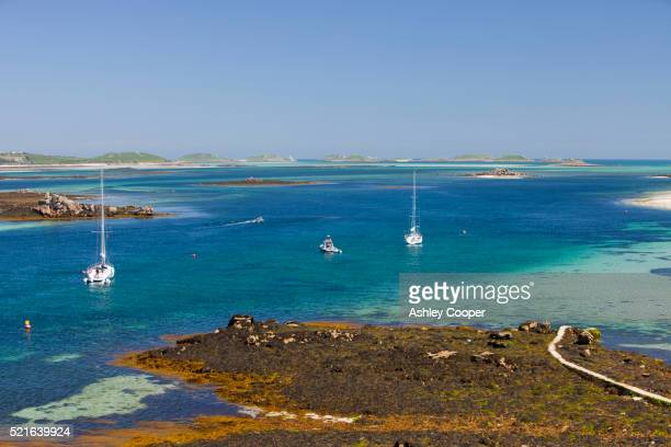 sailboats moored near tresco - isles of scilly stock pictures, royalty-free photos & images