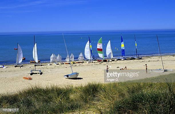 Sailboats on beach, Barbatre, France