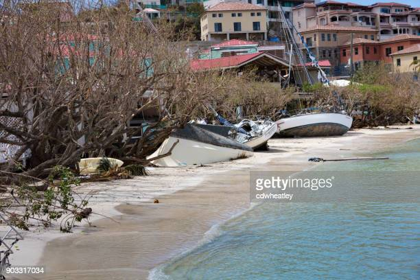 sailboats on beach, hurricane Irma cruz bay ferry dock, St John