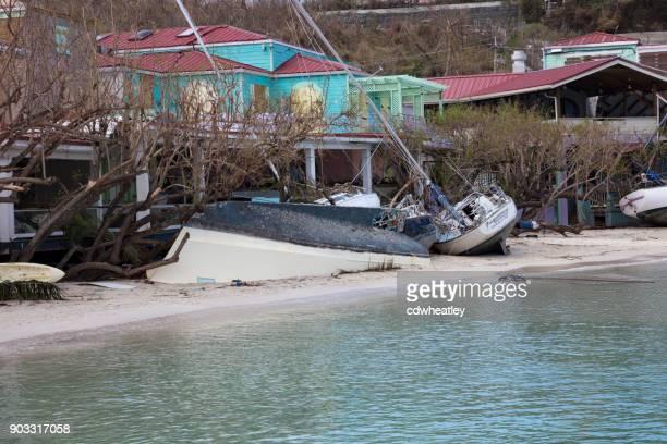 sailboats on beach, hurricane Irma downtown cruz bay, St John