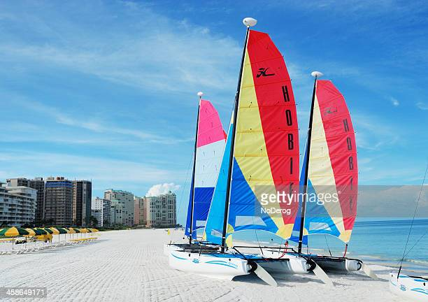 sailboats on beach marco island, florida, fl, usa - marco island stock pictures, royalty-free photos & images