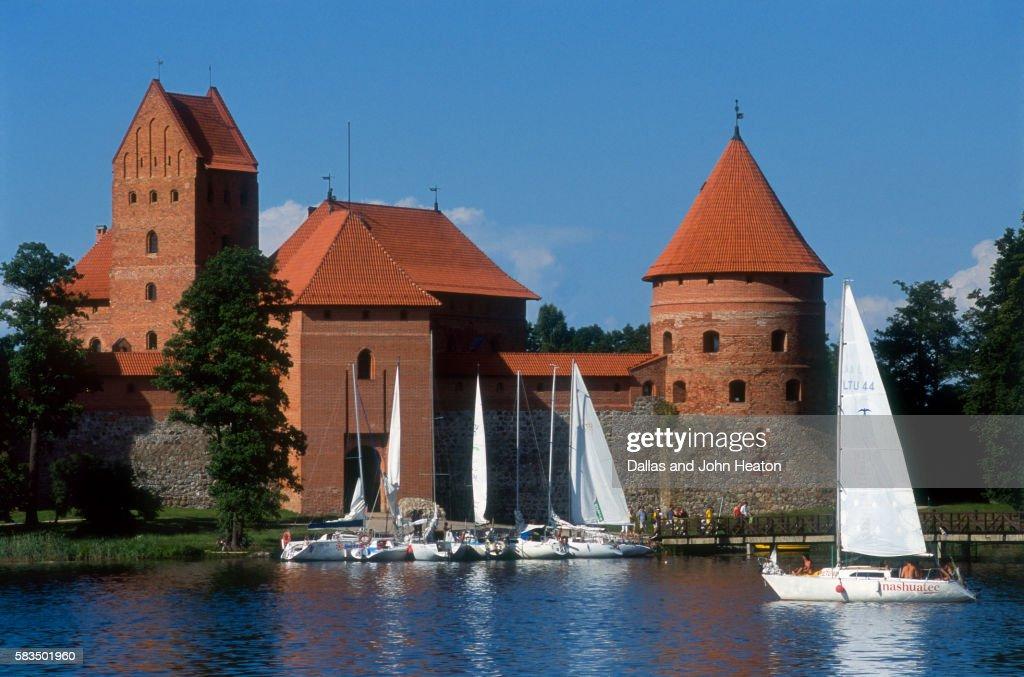 Sailboats on Galve Lake at Trakai Castle : Photo