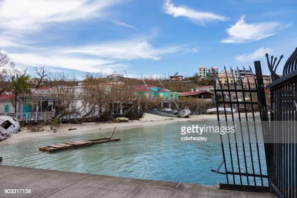 sailboats on shoreline hurricane Irma cruz bay ferry dock, St John