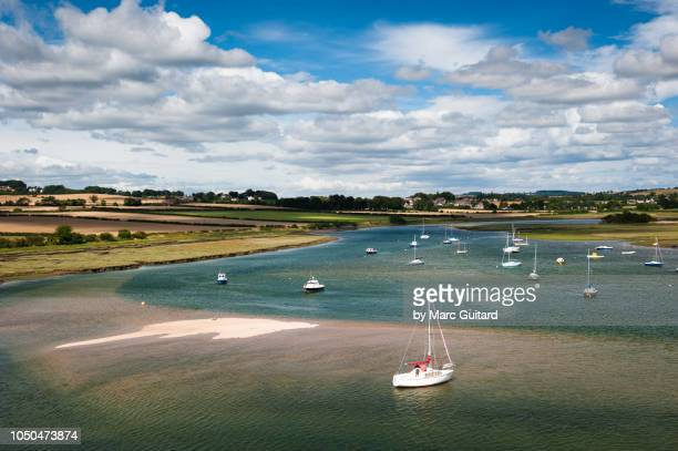 Sailboats on the Aln River, Alnmouth, Northumberland, England