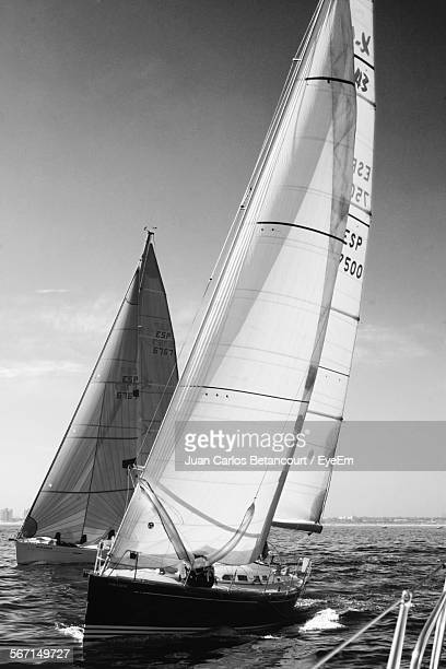 sailboats race in sea against sky - voilier noir et blanc photos et images de collection