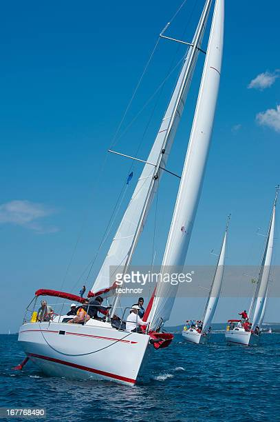 sailboats racing at regatta - sailing team stock pictures, royalty-free photos & images