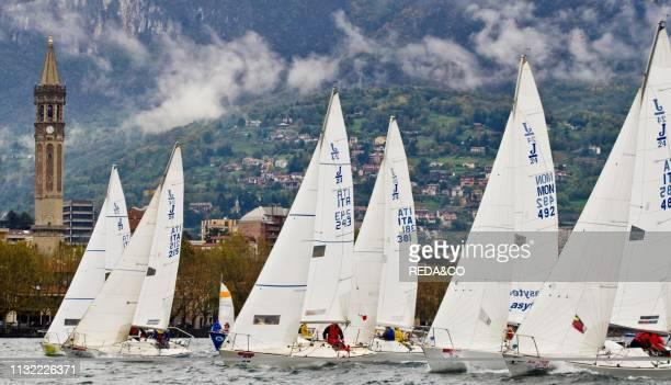 Sailboats racing on Lake Como Lecco Lombardy Italy Europe